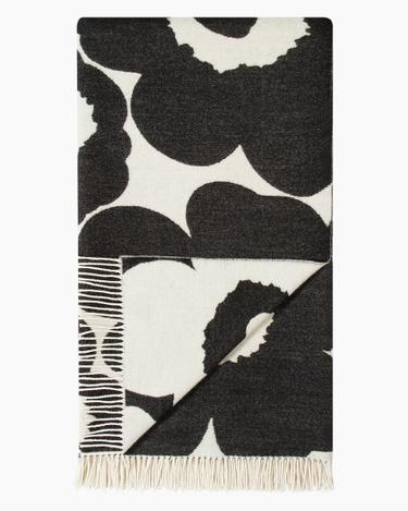 marimekko Unikko 130X180 Cm blanket black, white