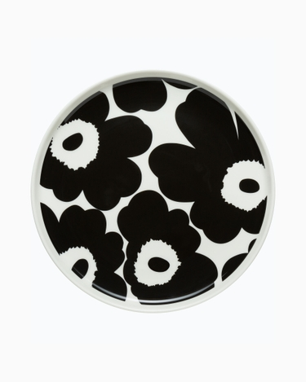 marimekko Oiva / Unikko lautanen 20 cm musta, valkoinen
