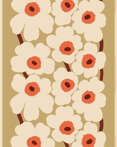 marimekko Unikko cotton-true hemp fabric beige, natural white, orange