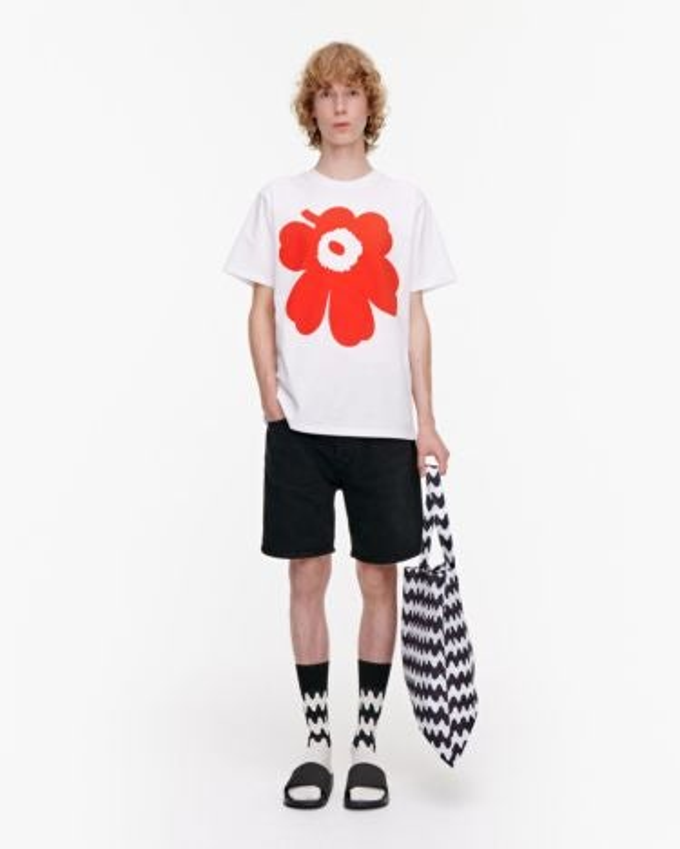 marimekko Liuske Unikko Placement t-shirt orange, white