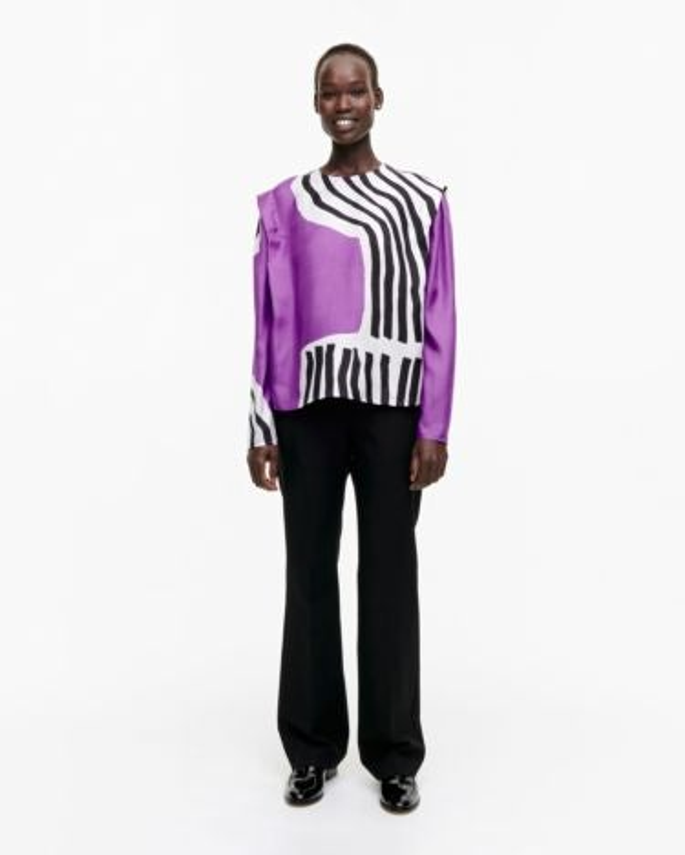 marimekko Humisee Vuolu shirt black, off-white, violet
