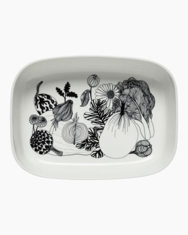 marimekko Oiva / Siirtolapuutarha serving dish black, white