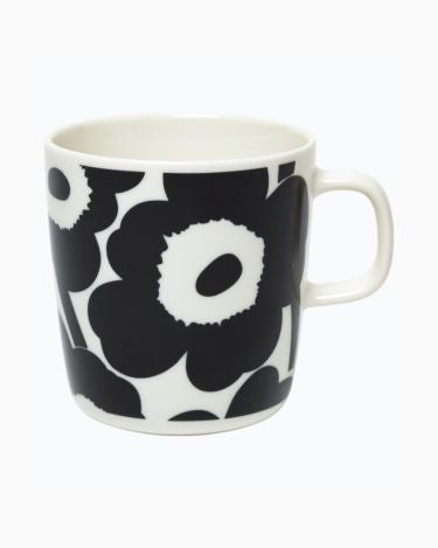 marimekko Oiva / Unikko mug 4 dl black, white