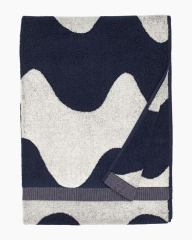 marimekko Lokki bath towel dark blue, off-white