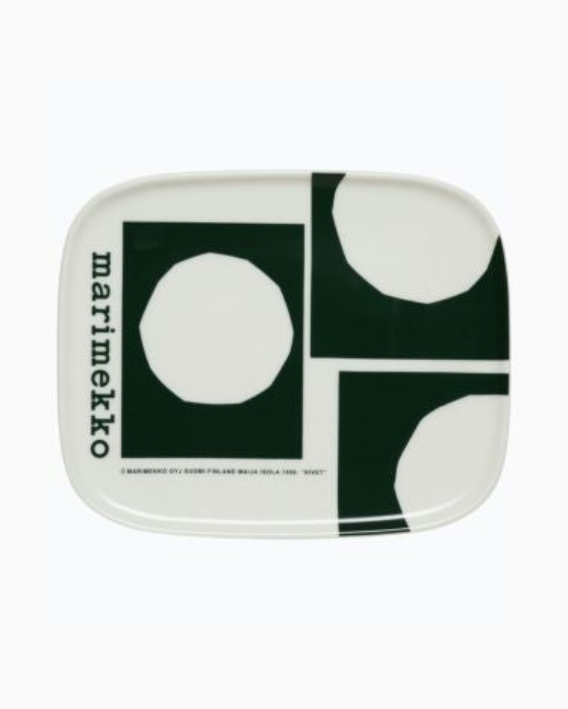 marimekko Oiva / Marimekko Co-created  plate 15x12cm dark green, white
