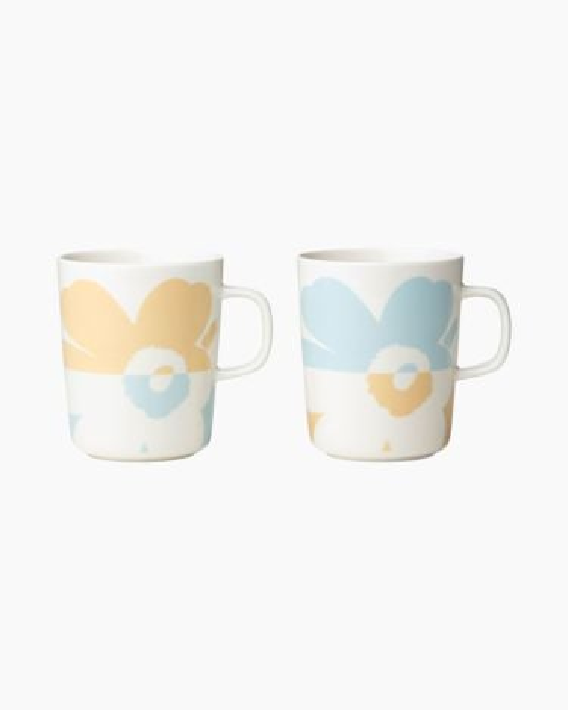 marimekko Oiva / Unikko mug 2,5dl / 2pcs light aqua, light beige, white