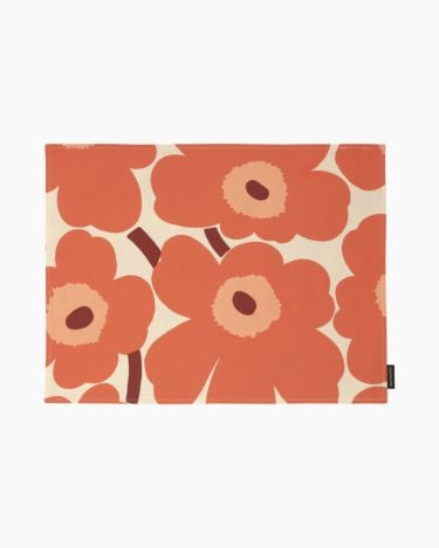 marimekko Pieni Unikko acryl coated placemat 31x42 cm burgundi, linen, orange