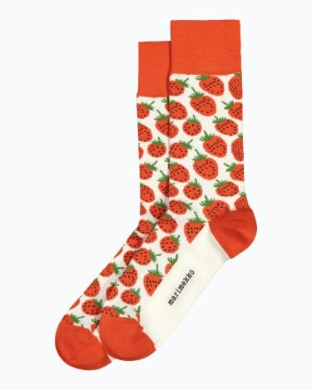 marimekko Kohina Mansikka socks green, off white, red