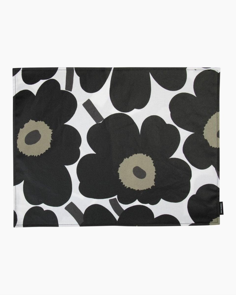 Marimekko's black Pieni Unikko acryl coated placemat